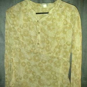 Sheer cream pattern long sleeve top